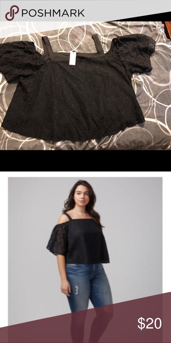 ee2a76937e8 Lace cold shoulder top Black lace top Lane Bryant Tops Blouses