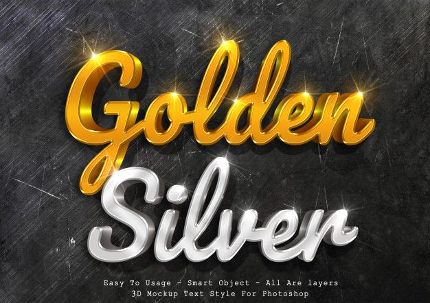 3d Mockup Gold And Silver Text Style Text Style Free Photoshop Text 3d Text Effect