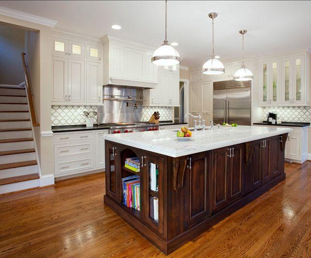 White Kitchen with dark stained island. I often prefer ...
