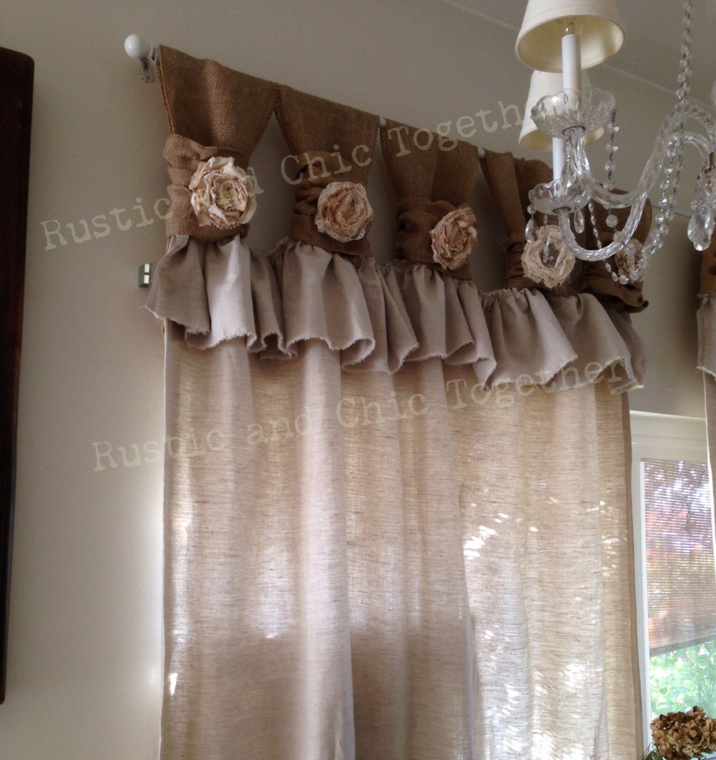 Drop cloth curtains dyed - Burlap Wide Ruched Tabs Curtains Tea Dyed By Rusticchictogether