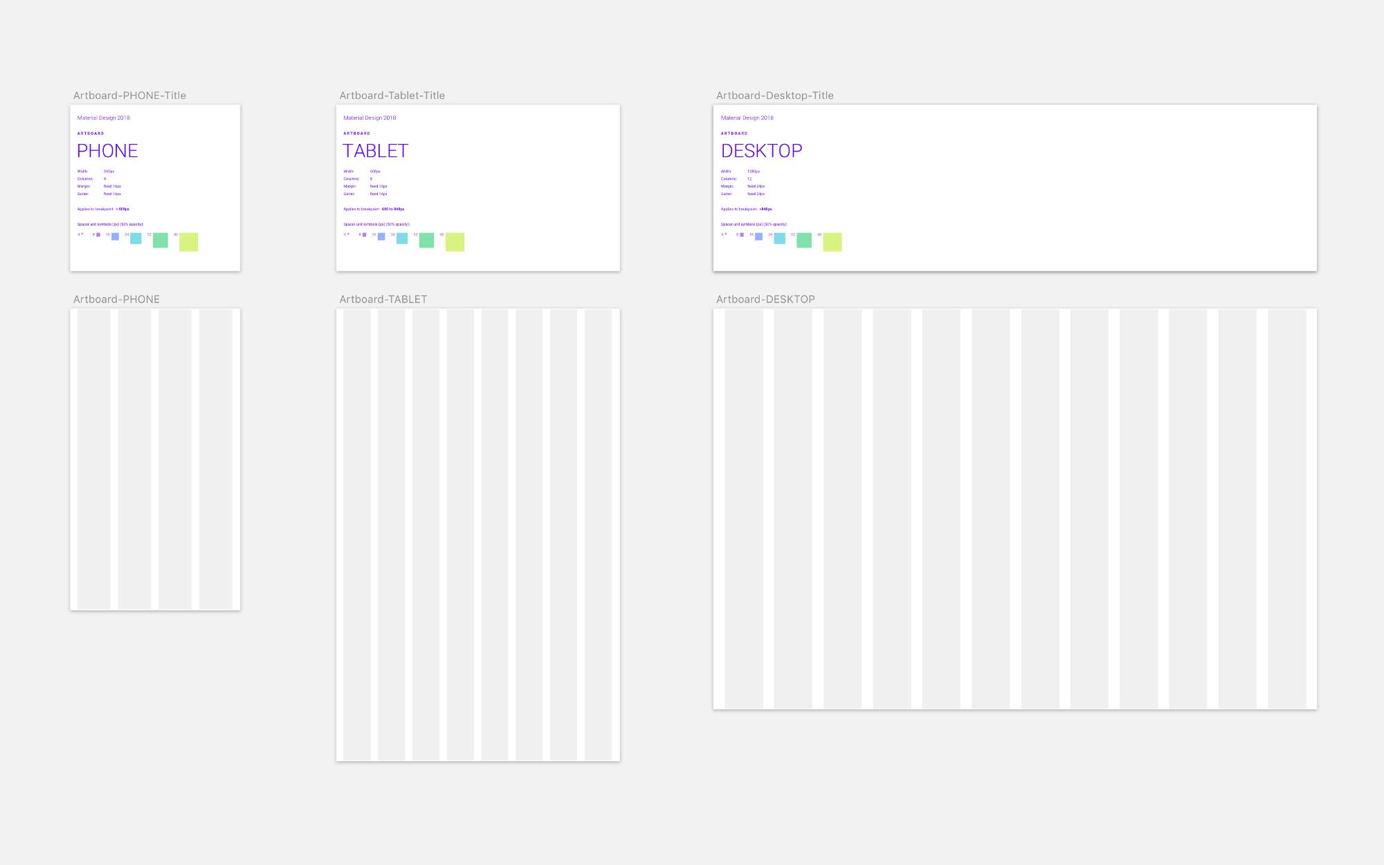 Material design desktop sketch