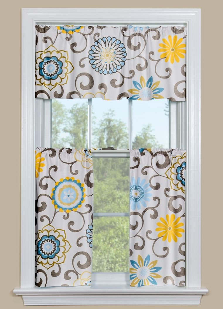 Exceptionnel Floral Kitchen Curtains With Blue And Yellow