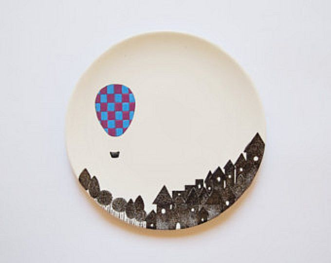 Decorated plate with approx. 21 cm of diameter (8.3 inchs). Black drawing is screen-printed. Ballom is totally hand painted with lilac and blue colors (glossy finish).  Hand wash safe. Item is carefully packed. In case of any damage during shipping, it will be replace.  To see my other decorated plates, click here: http://www.etsy.com/shop/ZuppaAtelier?section_id=10248814   Please contact me for any question, or if your shipping location is not listed below
