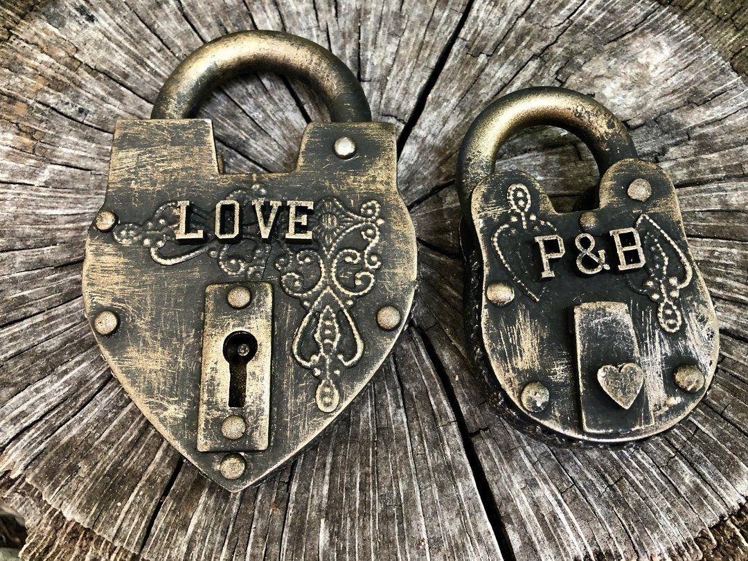 4 Heart Locks Bridge Love Padlocks Wedding Engagement Anniversary Gift /& Key
