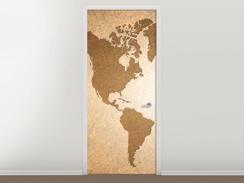Tür #Tapete Karte der Welt in Vintage