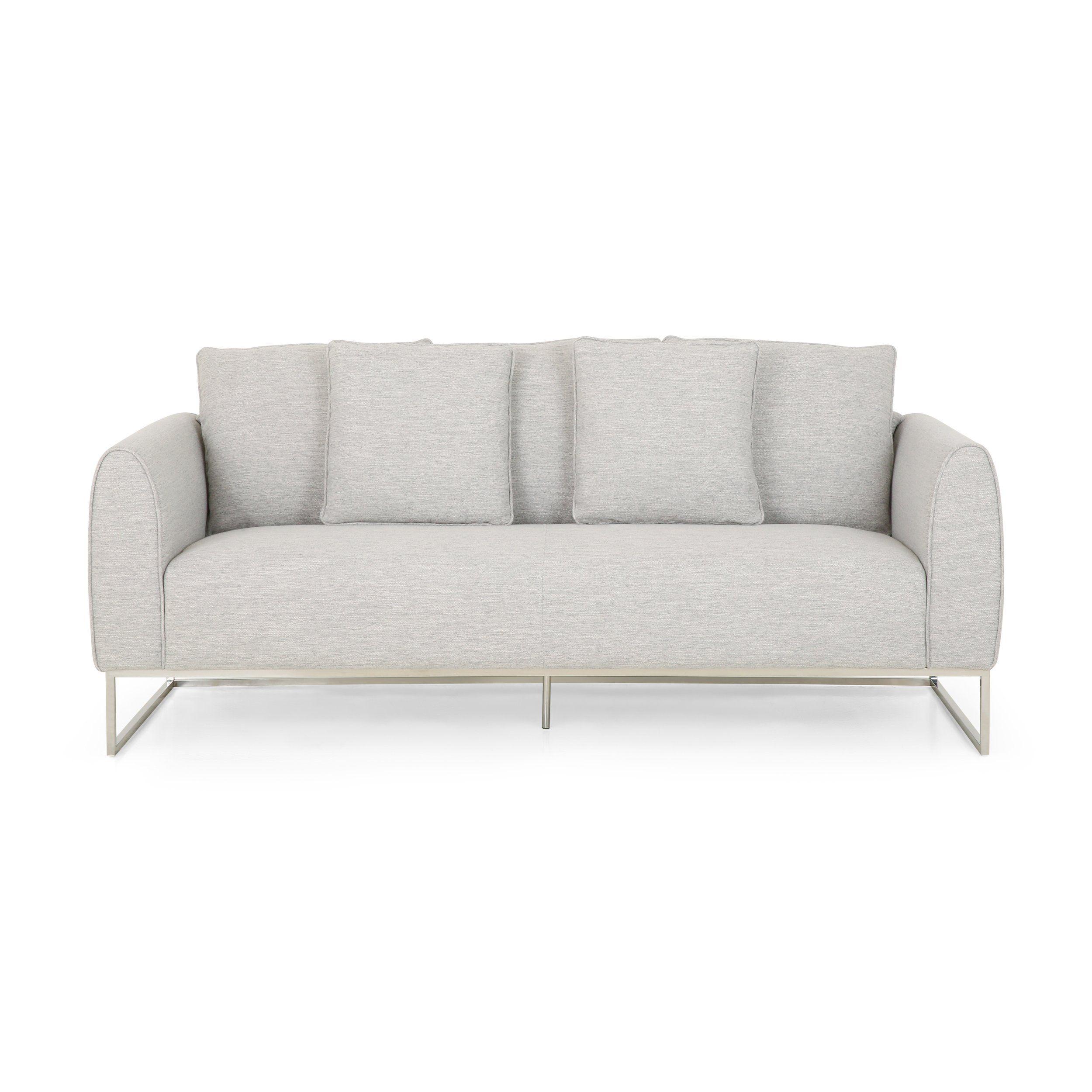Kastle Modern Fabric 3 Seater Sofa - Light Blush