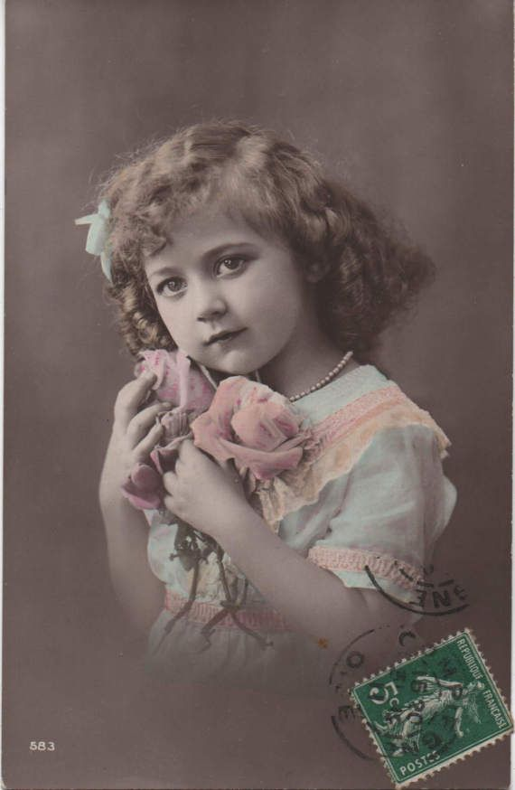 Pearls and blooms, pale blue ribbon, vintage girl photo, blue white pink, roses, curly hair girl, French script, hand tinted  (rppc/ch424)