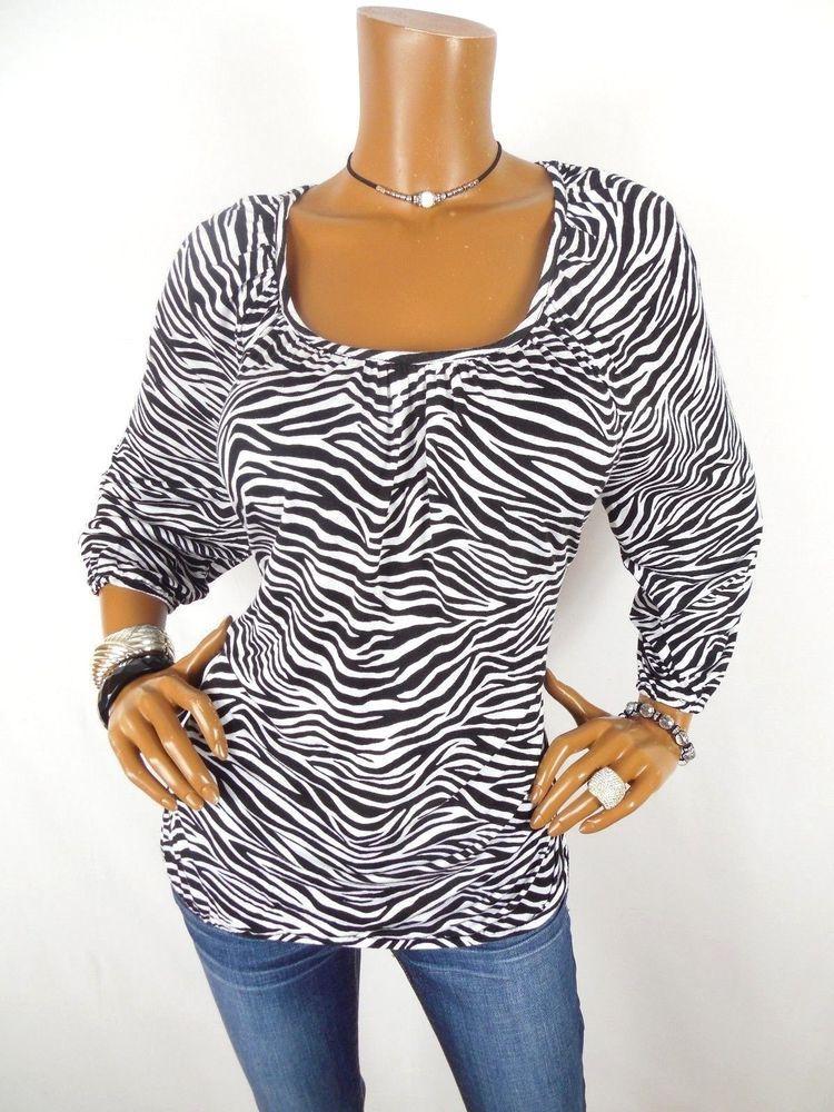 7123c4b14da1 MICHAEL KORS Womens Top XL Black Wht Zebra Shirt Loose Fit Blouse Casual 3/4  Slv #MichaelKors #Blouse #Casual