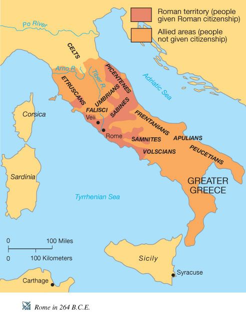 264 BCE Roman Territory and Allied Areas Maps Charts Graphs