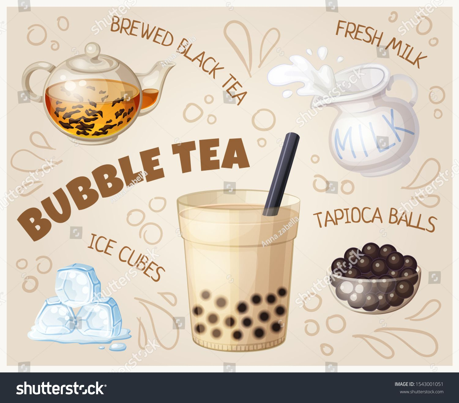 Bubble tea glass and food ingredients cartoon illustration