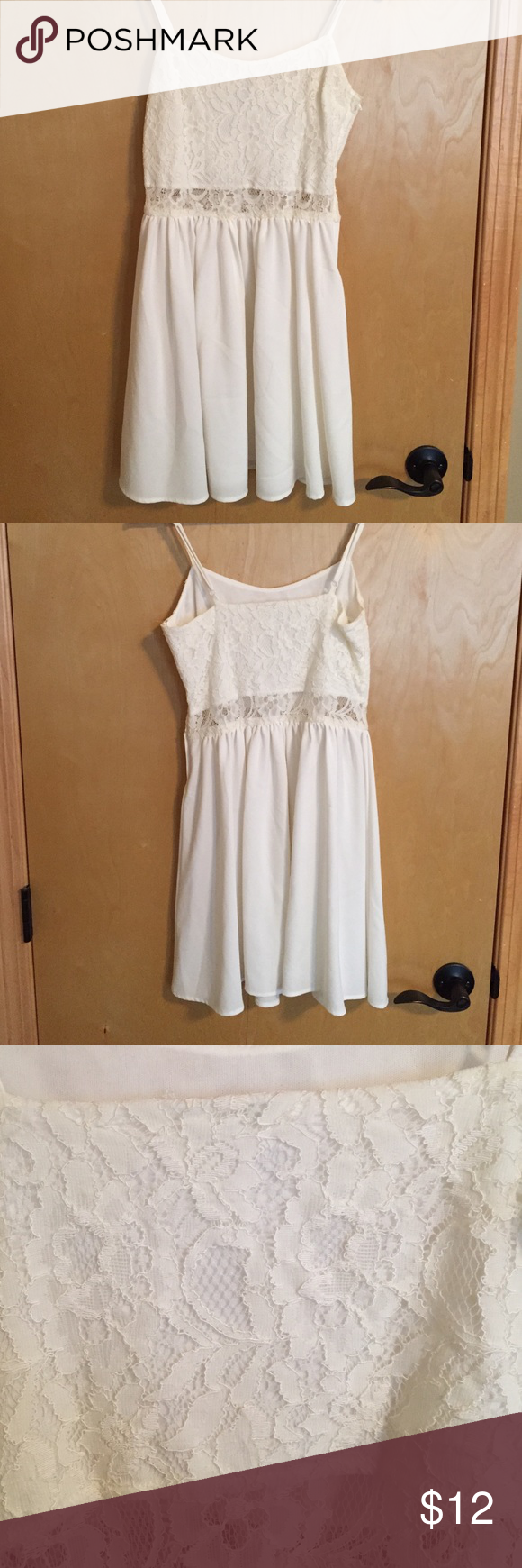 H&m lace dress white  HuM US white lacesilky dress  White lace Minis and Customer support