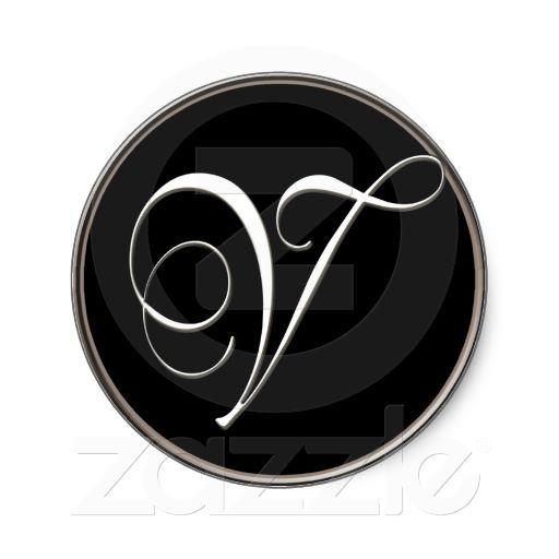 V Monogram Elegant Black And White Classic Round Sticker