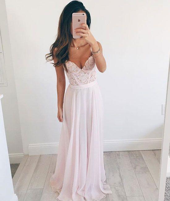 Pink Sweetheart A-line chiffon lace long prom dress, formal dress ...