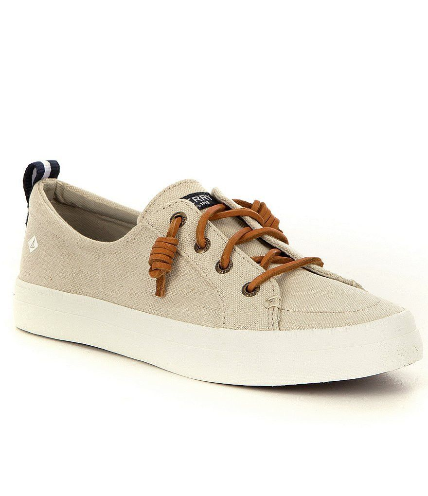 8b610e3356985d You ll be putting off and feeling good vibes in Sperry s Women s Crest Vibe  Linen Boat Shoes. Durable canvas uppers with a vulcanized construction  withstand ...