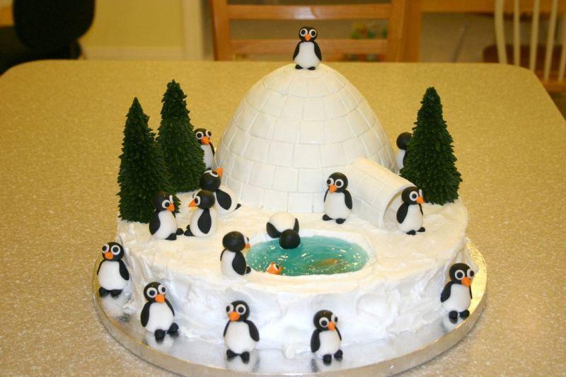 Nuove torte di compleanno per bambini   Torta igloo con pinguini