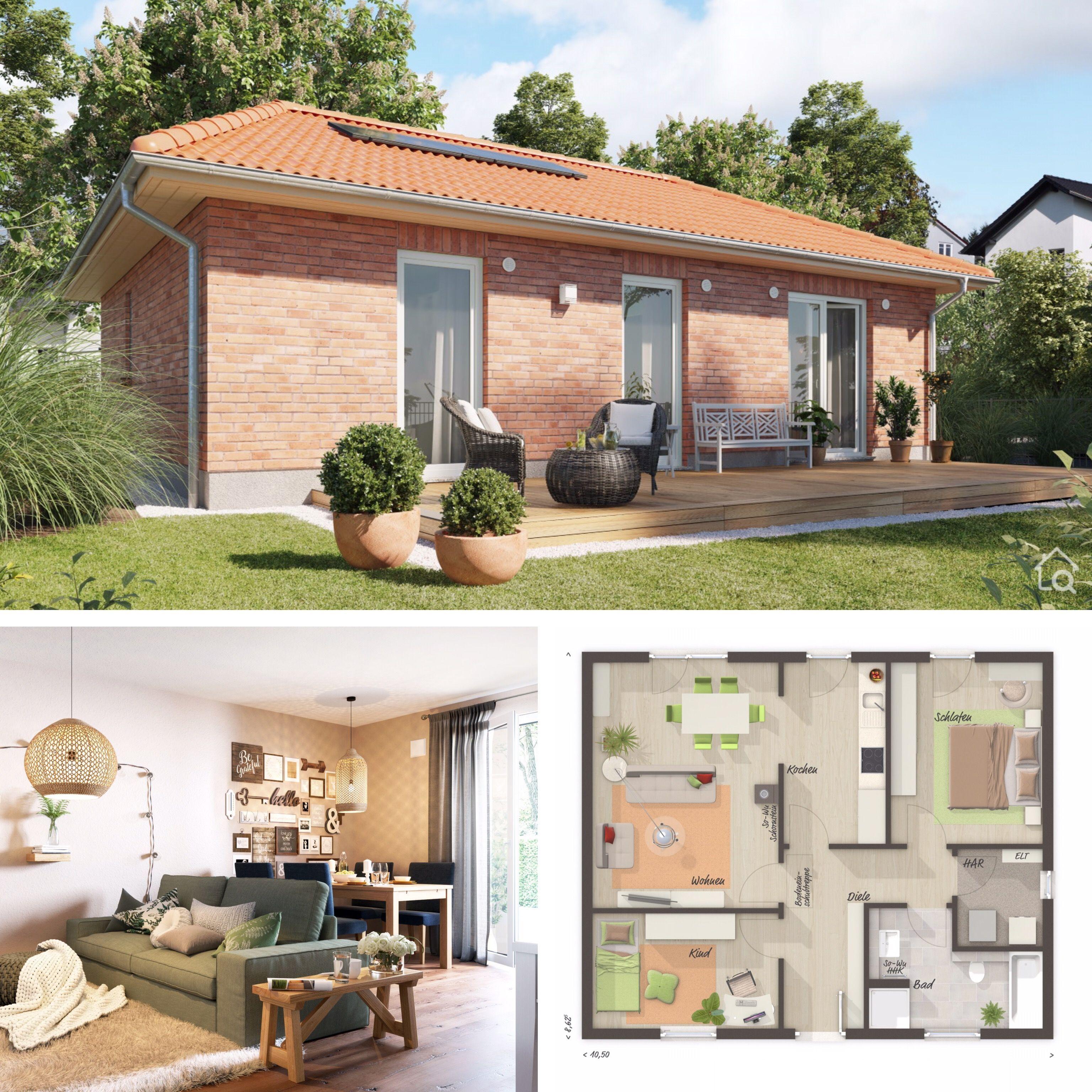 Kleiner Bungalow mit Klinker Fassade & Walmdach
