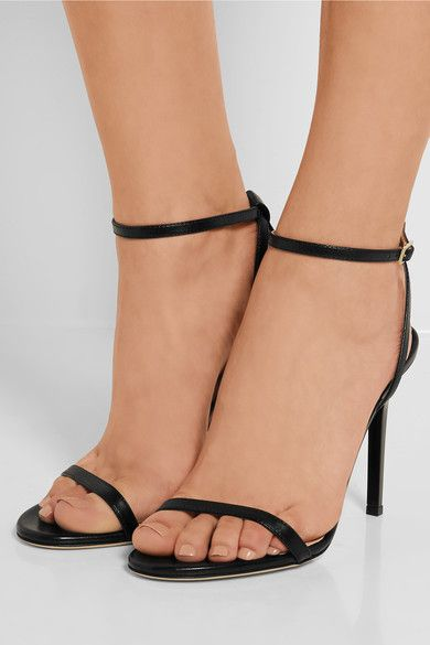 Heel measures approximately 100mm/ 4 inches Black leather Buckle-fastening ankle strap Made in ItalySmall to size. See Size & Fit notes. As seen in THE EDIT magazine