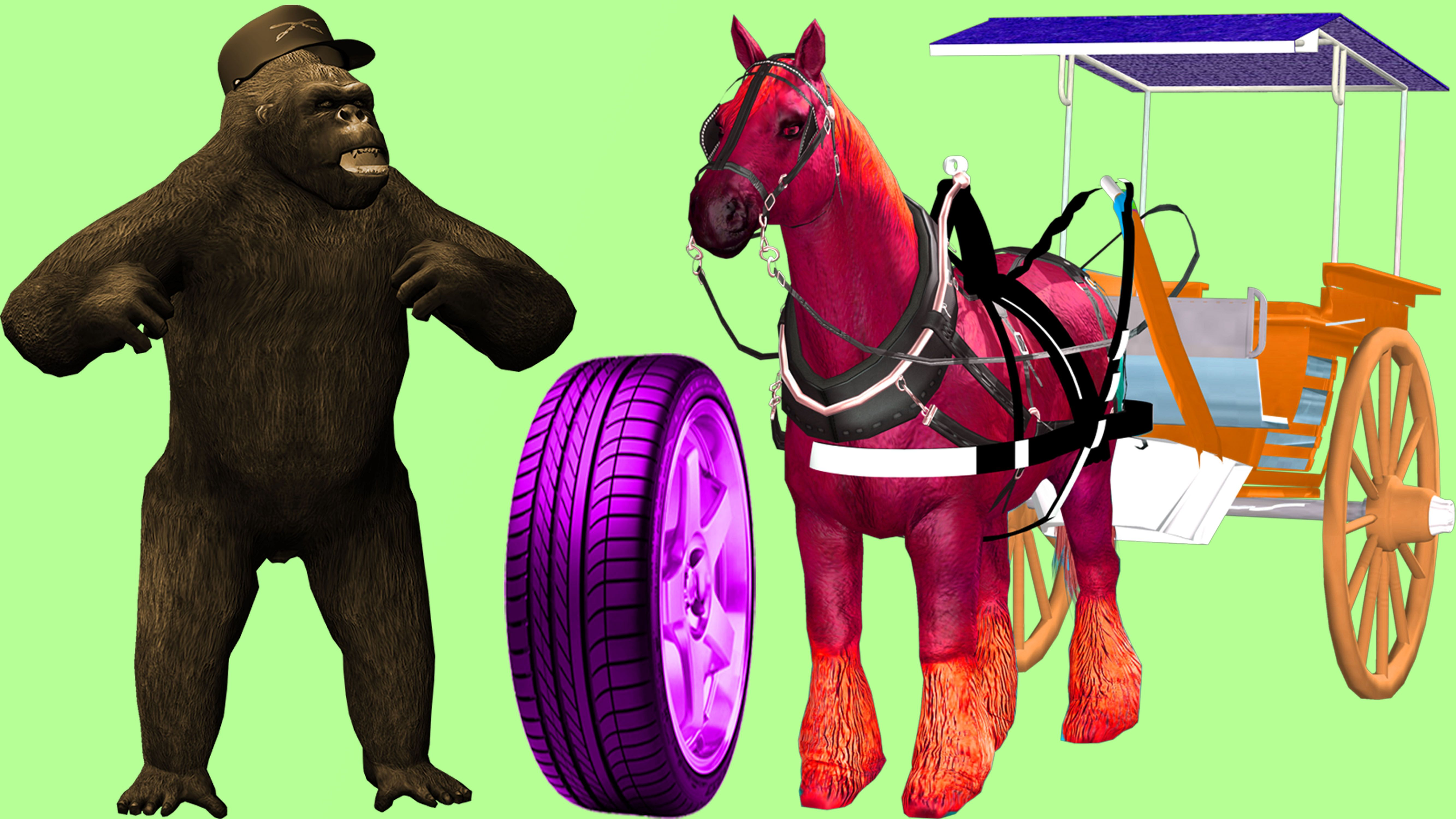 Bad gorila Hits Learn Colors Wow 3D Horse Car Tires Color Songs For ...