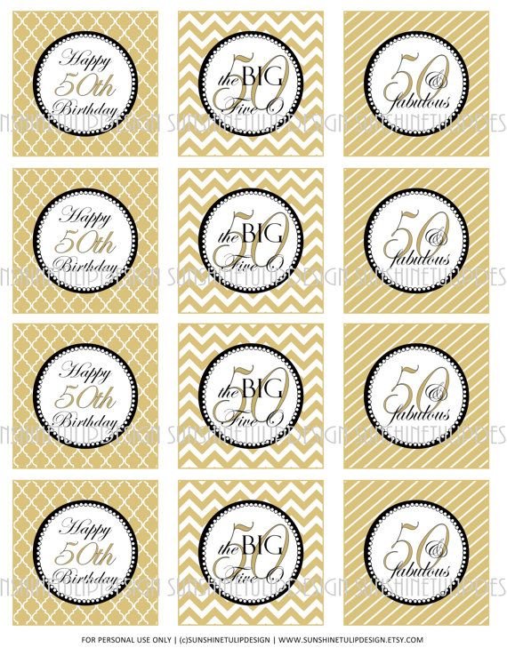 50th Birthday Printable DIY Party Tags And Cupcake Toppers By SunshineTulipdesign