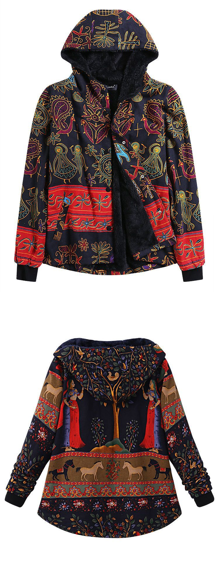 O Newe Casual Printing Hooded Thick Coat For Women