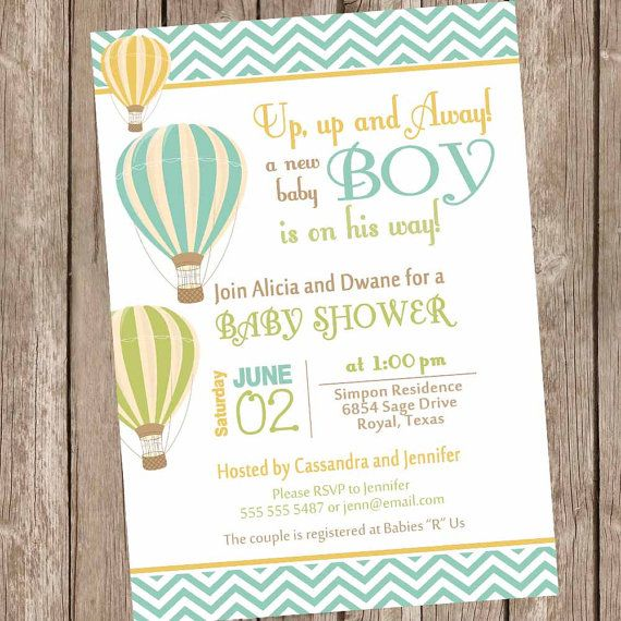 Boy Hot Air Balloon Baby Shower Invitation Up Up And Away Chevron