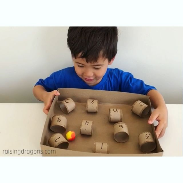 Paper Towel Roll & Pom Pom Challenge * ages 3+ ⋆ Raising Dragons