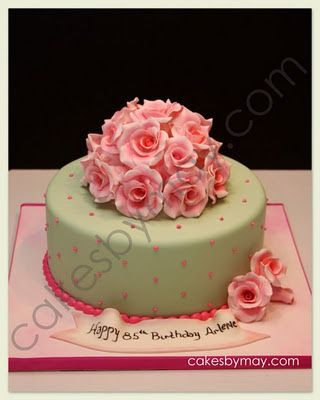 Roses And Cherry Blossoms Birthday Cakes With Images Elegant