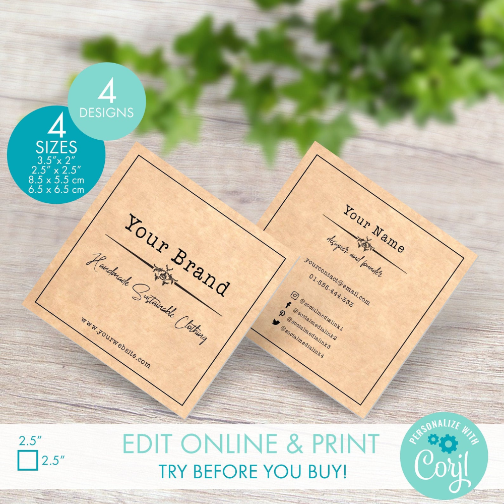 Editable Square Business Card Template Vintage Style 2 5 Etsy In 2021 Square Business Card Business Card Template Rustic Business Cards