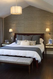 Master Accent Wall Seagrass Wallpaper Bedroom And