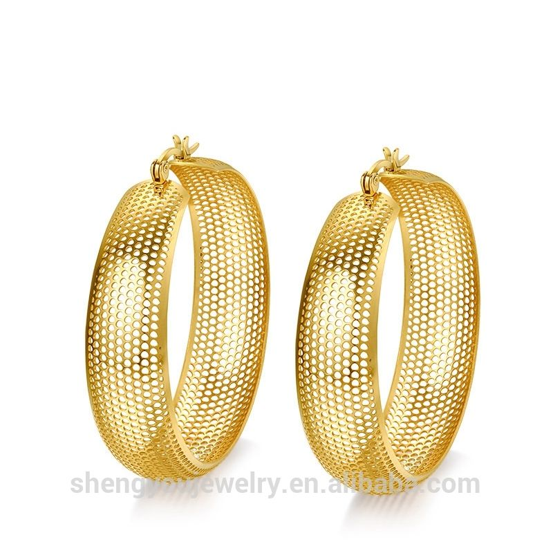 Vintage Hollow Style Whole Round Earring 18k Gold Earrings Women Christmas Gift