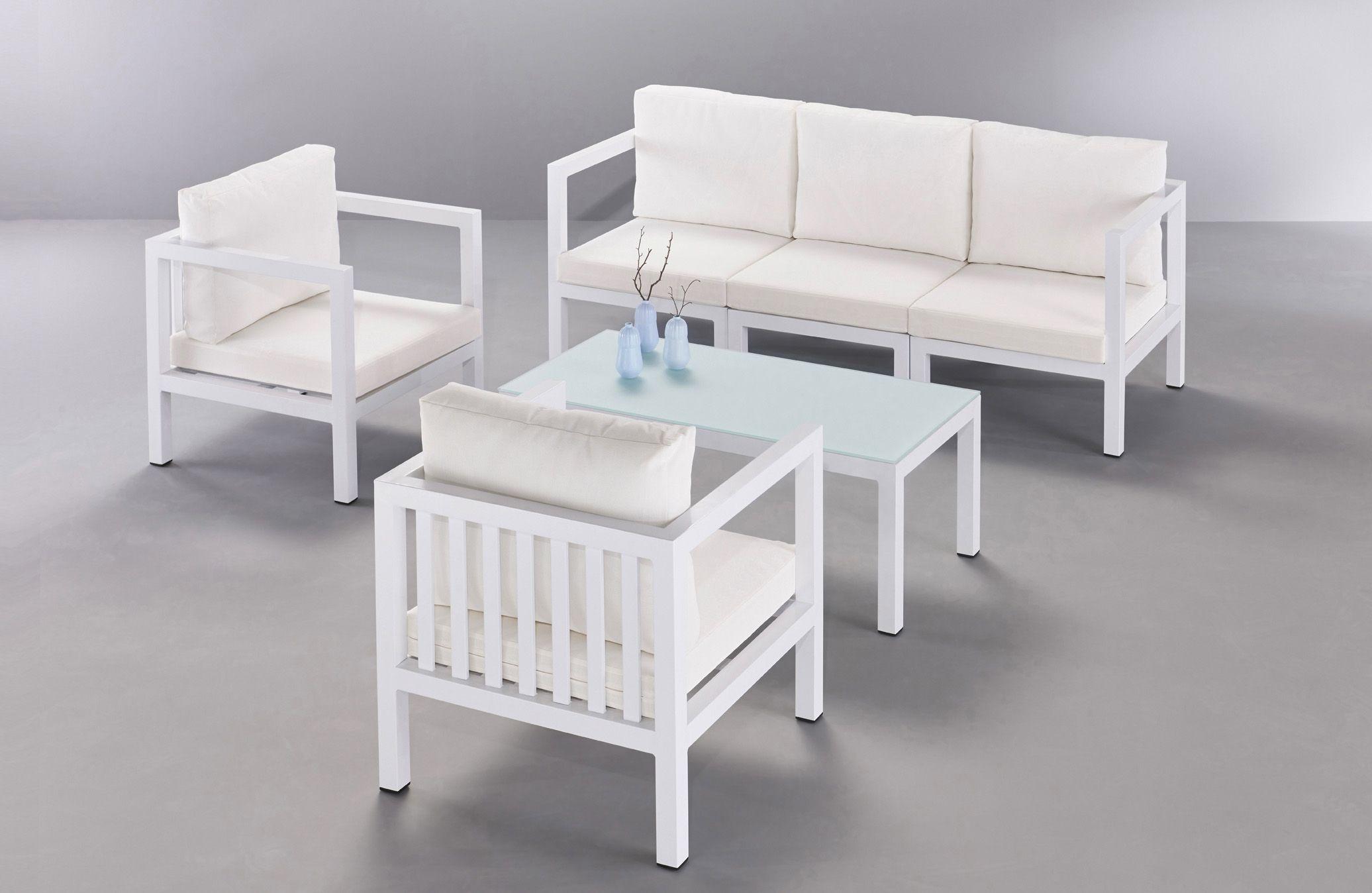 Salon de jardin modulable CURTIS, en aluminium laqué et coussins en ...
