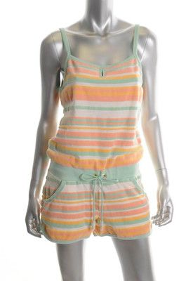 Juicy Couture NEW Stripe Green Ribbed Romper Shorts
