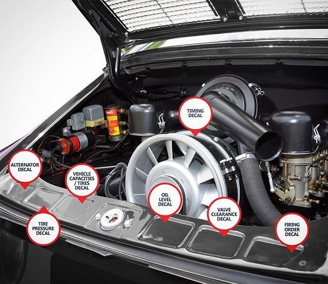 PORSCHE ENGINE REAR WINDOW STICKER 3.4 911 930 964 decal reproduction