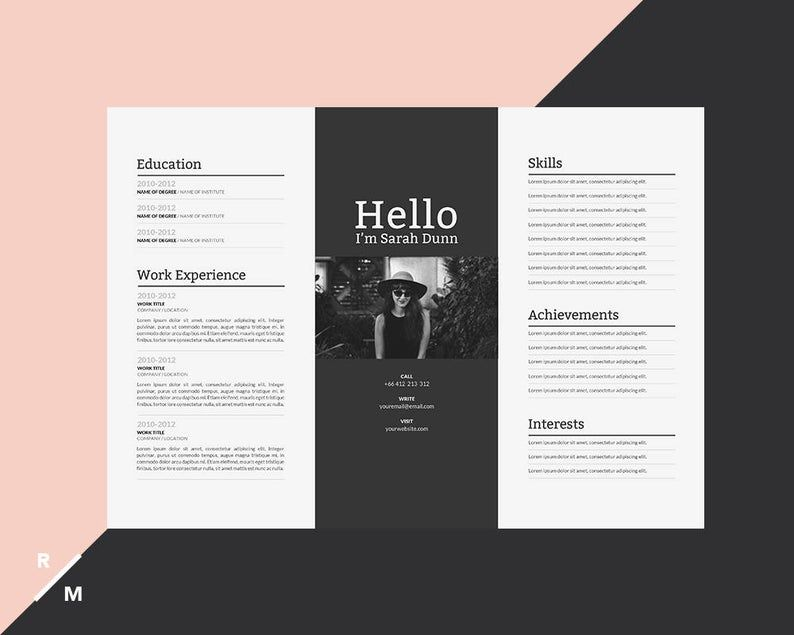 Creative Resume Template Horizontal Landscape Modern Professional Resume Simple Resume Digital Download Rezyume Dizajnera Dizajn Rezyume Shablon Rezyume
