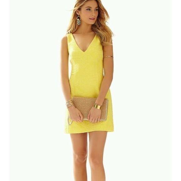 NWT Lilly pulitz Pulitzer Madden Sunglow Yellow Jacquard Dress Sz 8 $198 value