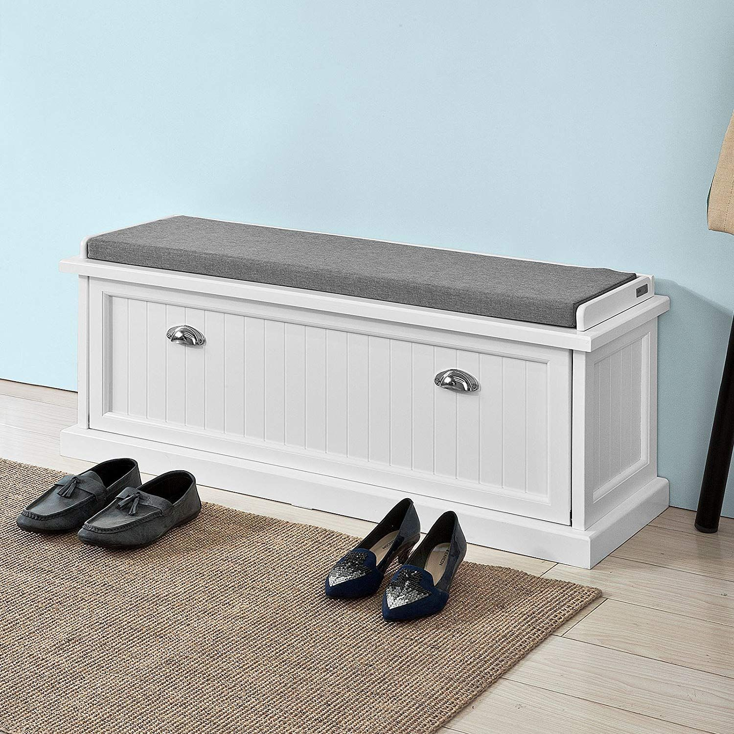 Amazon Com Haotian White White Storage Bench With Removable Seat Cushion Bench With Storage C Bench With Storage Storage Bench Seating Entryway Bench Storage