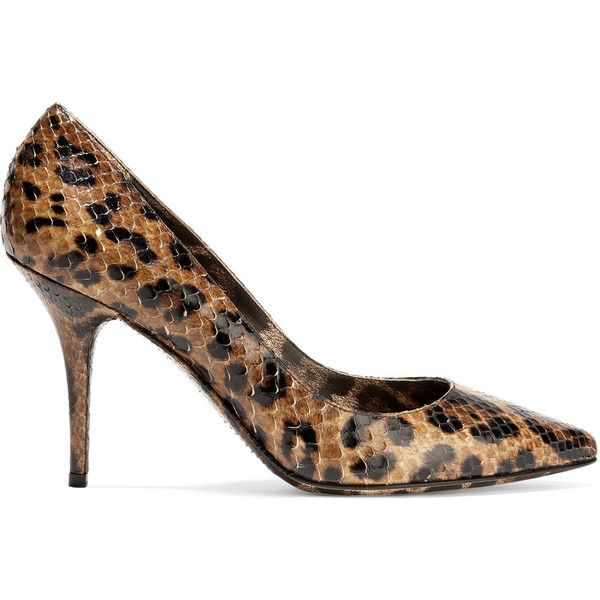 Dolce & Gabbana Leopard-print snake-effect leather pumps ($480) ❤ liked on  Polyvore featuring shoes, pumps, leopard print, black leather pumps, ...
