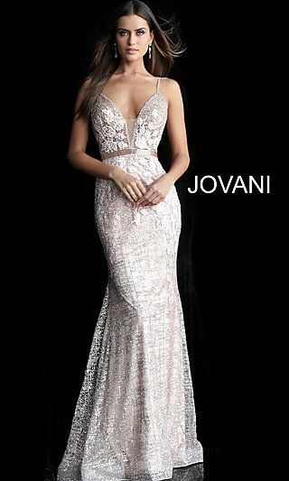 Long Embroidered OpenBack Designer Prom Dress - Gold mermaid prom dresses, Prom dresses jovani, Mermaid prom dresses, Jovani dresses, Prom dresses gowns, Prom designs - Captivate the crowd wearing this embroidered prom dress by Jovani  A picture of elegance from the sleeveless bodice to the hem of the short train, this long designer formal dress shimmers with glimmering embroidery  Just below the sheer inset at the plunging vneckline, a beaded band defines the waistline of this backless prom dress  A designer style fit for pageant winners and prom queens, this Jovani embroidered long prom dress is a mesmerizing style