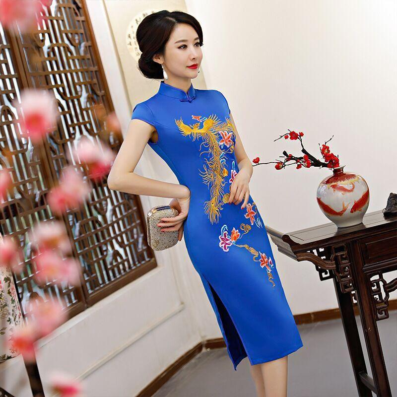 78608f2b1 Fashion Chinese Style Women's Knee Leng Cheongsam Summer Embroidery Rayon  Dress Slim Qipao Vestidos Size M L XL XXL XXXL 92913. Yesterday's price: US  $38.72 ...