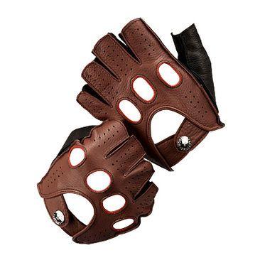 1138214311300 Men's Fingerless Leather Driving Gloves in Brown Deerskin - Luxury ...