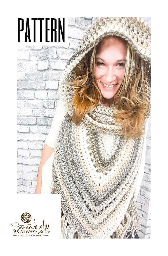 Crochet PATTERN Boho Hooded Scarf Hooded Triangle Scarf ...