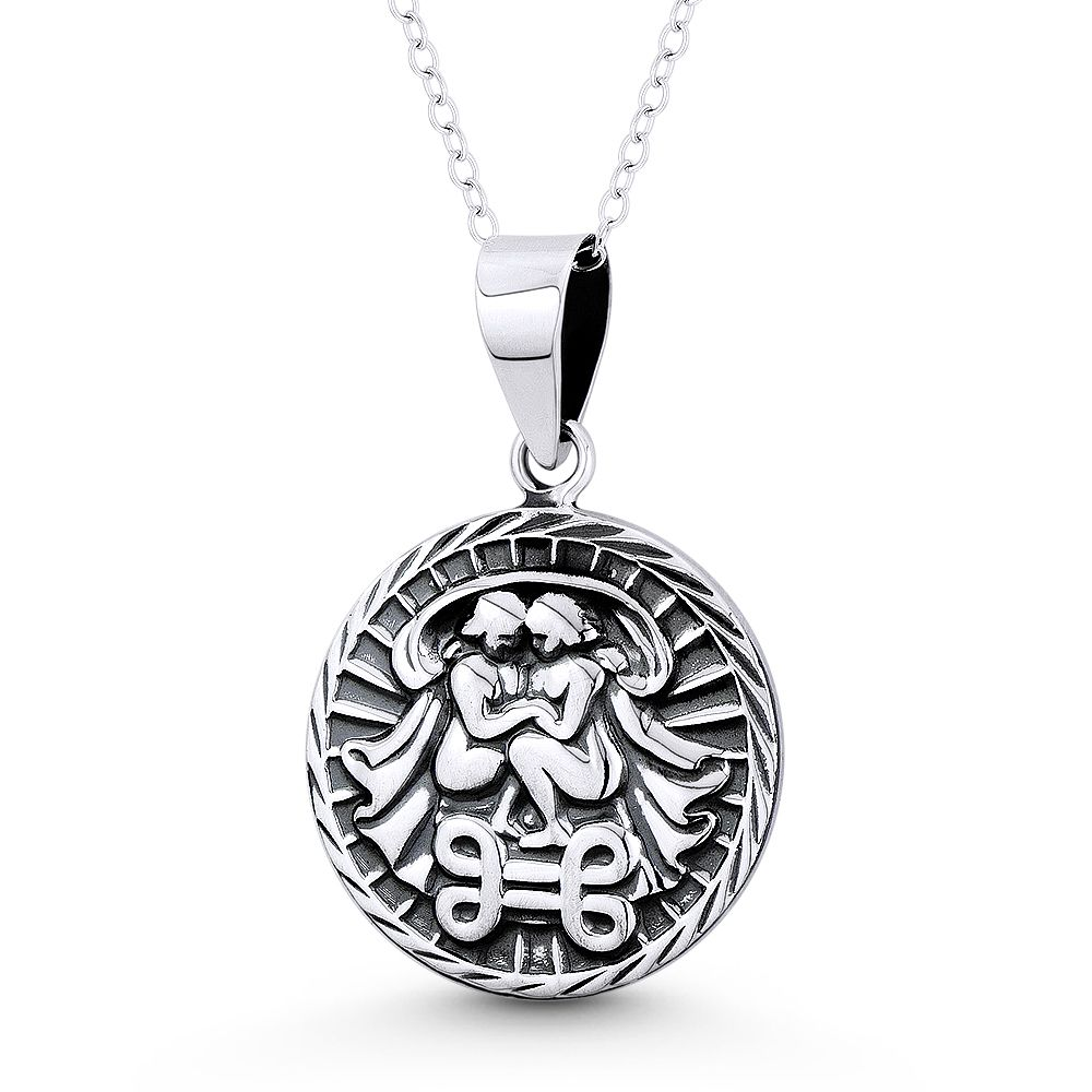 Circle /& Flower Skeleton Key Luck Charm Pendant Necklace in .925 Sterling Silver