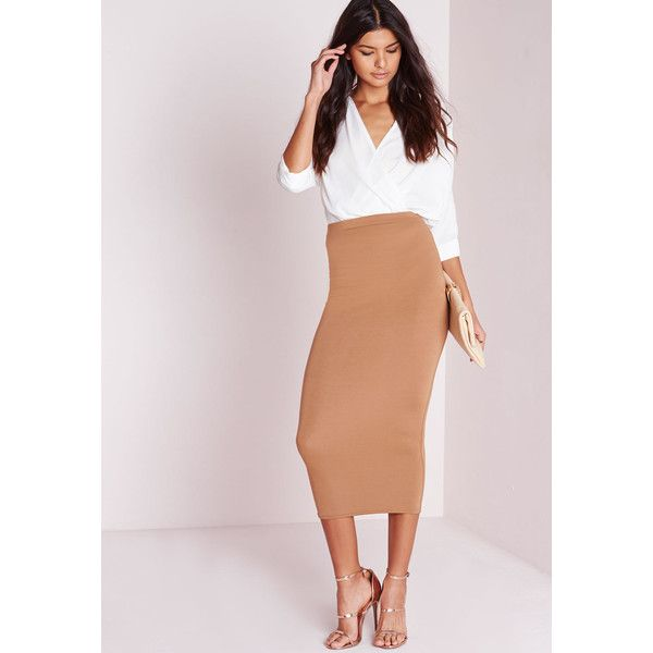 Missguided Longline Jersey Midi Skirt (27 CAD) ❤ liked on Polyvore featuring skirts, camel, long tube skirt, pink midi skirt, mid-calf skirt, long bodycon skirt y pink skirt