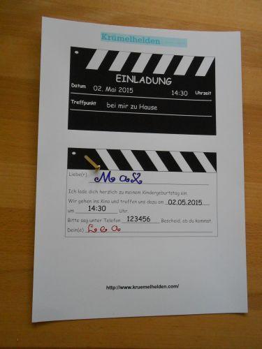 einladung zur kindergeburtstagsfeier im kino materialien, foto, Einladung