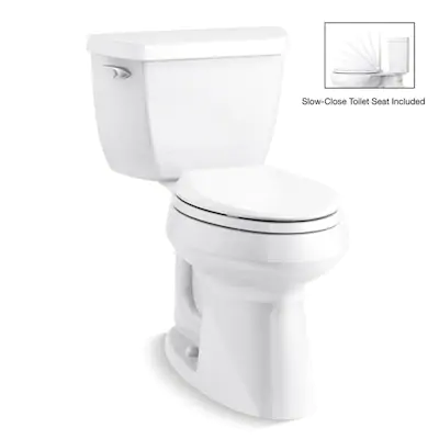 Kohler Highline Classic White Watersense Elongated Chair Height 2 Piece Toilet 12 In Rough In Size Lowes Com Water Sense Chair Height Engineered Stone