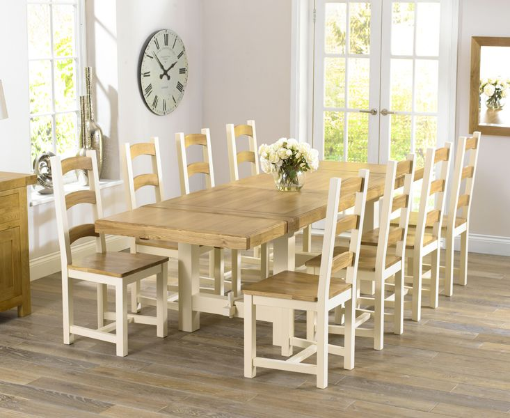 Buy The Marlow Oak And Cream Extending Dining Table With Marlow Chairs At Oak  Furniture Superstore