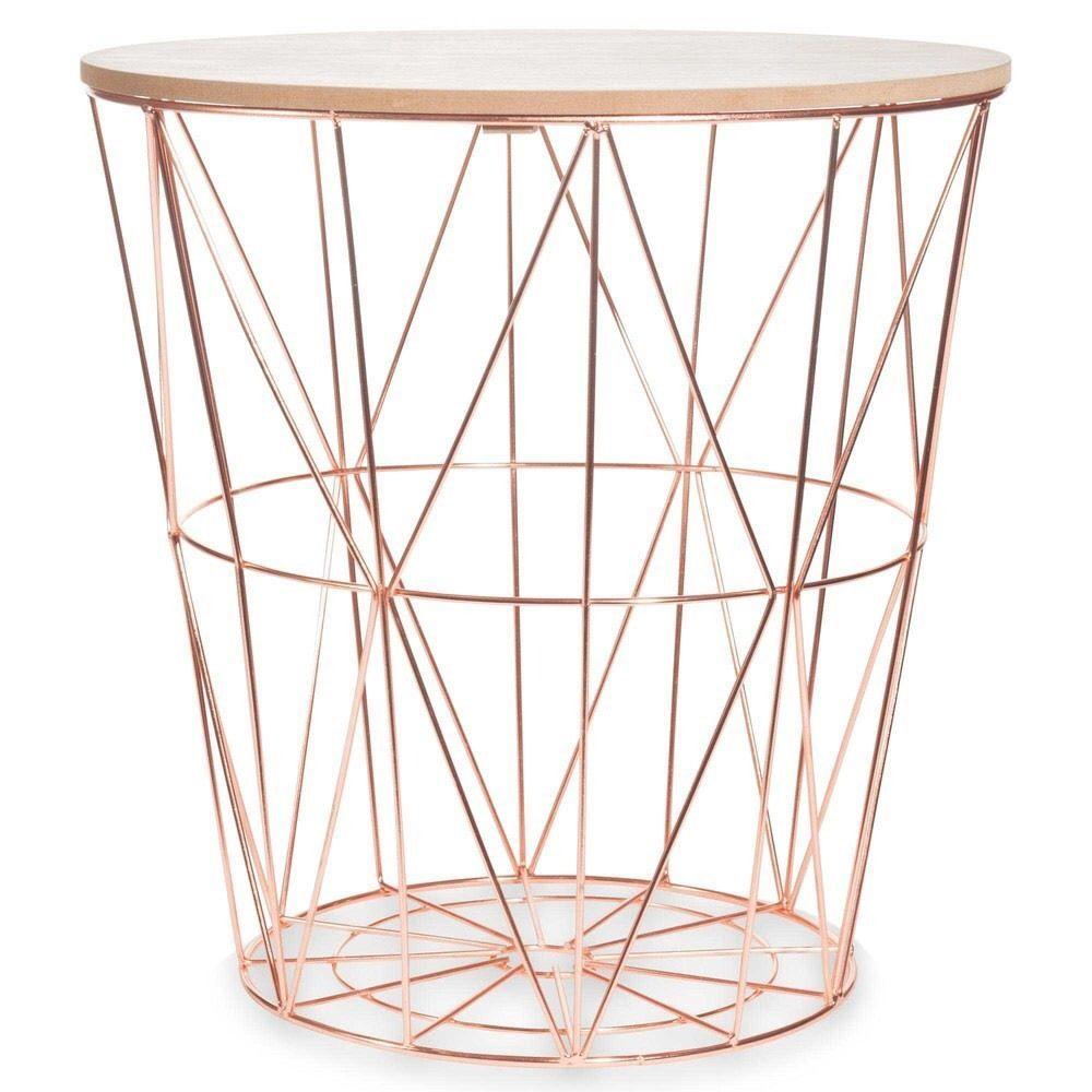 Copper Rose Gold Scandi Geometric Metal Wire Wood Occasional
