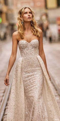 Berta Frühling 2020 Braut trägerlosen Schatz voll verschönerte Scheide Hochzeit d …