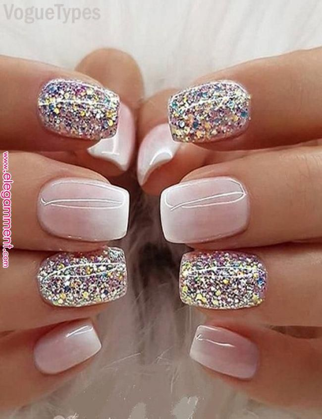 Milky White Ombre Glitter Nail Designs & Images for Women