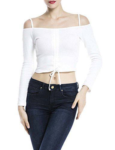 84af17724 iBiP Womens Spaghetti Strap String Up Boat Neck Bare Shoulder Crop Top Tank  Top Size M White *** Check this awesome product by going to the link at the  ...